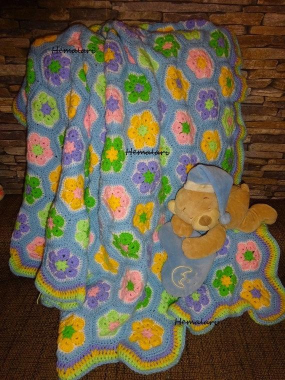 blaue Babydecke african flower Muster gehäkelt | Etsy
