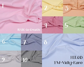 Vichy plaid, 3 mm, cotton, colorful woven, HILCO, Popeline - color to choose from - 50 cm, fabric, red, blue, pink, light blue, white