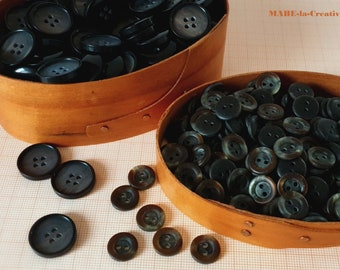 Buttons, DUNKELBRAUN, vintage look, wood optics, plastic buttons to choose from