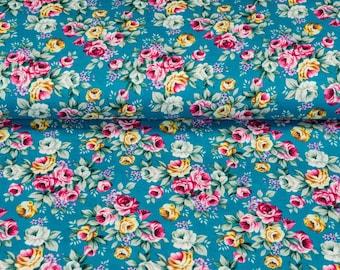 Cotton Popeline printed, ROSES, petrol-colored, weavingware