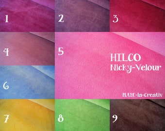 Nicky, fabric, HILCO, uni, 50 cm - color to choose from - Nicky fabric, Nicky meterware, Nicky velours
