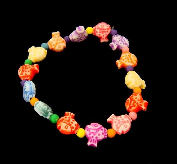 Colorful kids plastic fish rubber bracelet Elastic
