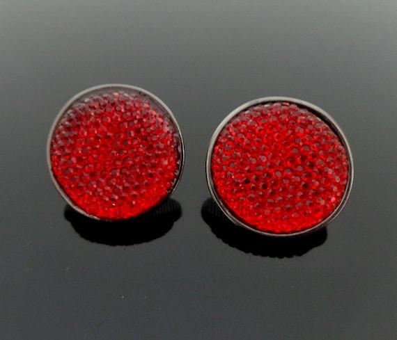 1980s vintage lipstick red glitter Lucite Cabochon