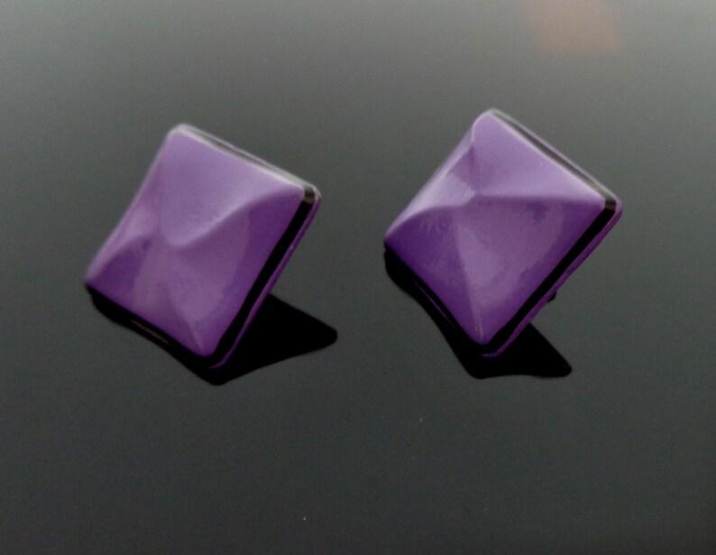 1970s Pucci Era Purple Black Enamelled Stud Earrings 2.2 cm \u00e9-60s-70s Rare purple /& black baked enamel Pierced post Earrings