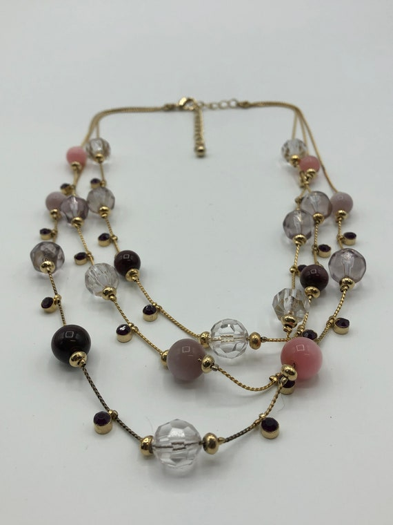 50/'s Purple Jewelry Spring Pastel Lavender Beads Femme 1950s Rockabilly Chic 50s Lilac Art Glass /& Pearls Coil Bracelet 38397-1