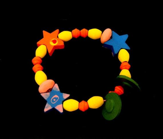 Colorful stars wood and rubber plastic elastic bra