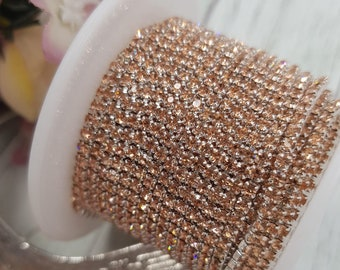 Rhinestone (crystal) cup chain SS6 (2mm) size. Rose Gold stone 57821632ca61