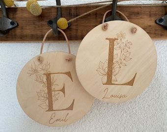 """Wooden Sign """"Floral Letters"""" 