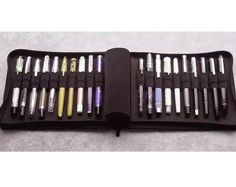 Kaco pen pouch pen case bag Black Color, Business Style 20 Pen Pockets For Penbbs lamy Moonman Delike