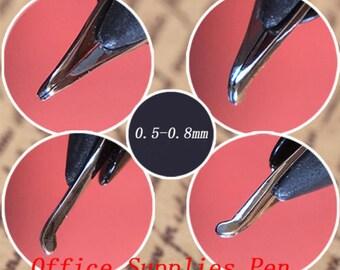 4Pcs Fountain Pen Nibs 0.5-0.8mm Bent Nib For Wing Sung 618 601 613