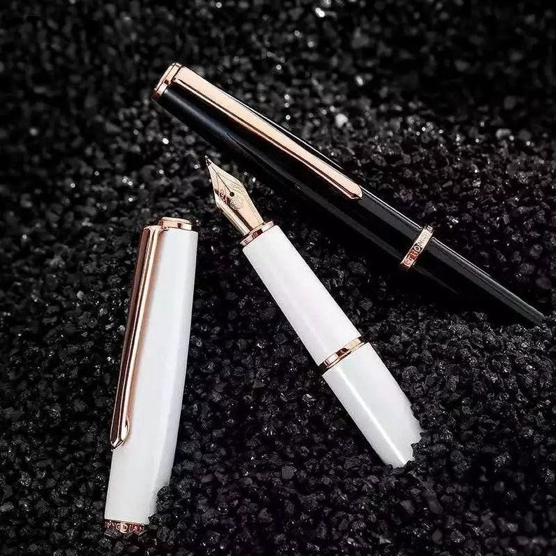 Hongdian Fountain Pen Metal Ink Pen EF Nib Converter Filler Golden Clip Business Office School Supplies Writing Gift