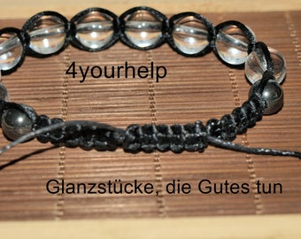 Macrame bracelet with rock crystal and hematite traditionally braided
