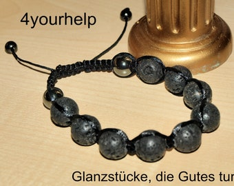 Makramee bracelet with lava and hematite, traditionally braided