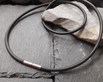 Kautschuk Ø 3 mm NEU Kautschukkette 925er Silber Karabinerverschluss