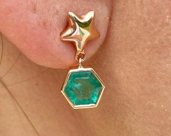 Emerald Drop Earrings, Hexagon Shape Natural Emerald Earrings, Gold Emerald Drop Earrings, Natural Emerald Earrings, Gold emerald earrings