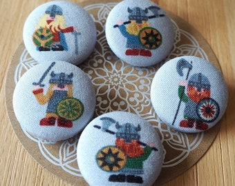 Fabric button .. Viking on green or grey ... 32 mm button ... fabric covered button Vikings