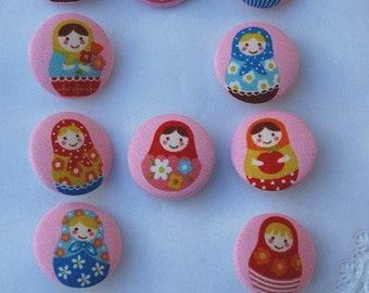 Fabric button .. Matryoshka... 32 mm button ... fabric covered button Matryoshka