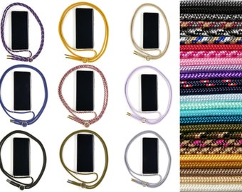 Mobile phone chain for IPhone XR - in 25 colors - Handy-Band Kordel Necklace with cover for hanging around Pink Cinnamon