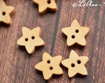 6 oder 12 Stern-Knöpfe aus Holz  13 x 12 mm
