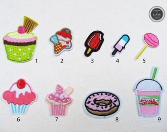 Applikation 3 er Set Eis Eistüten Pailetten Glitzer 10 x 4 cm