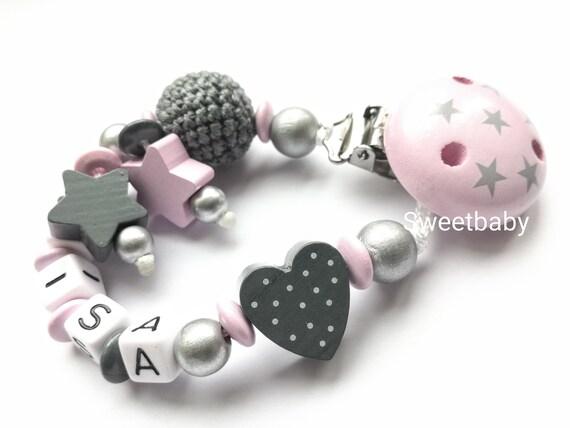 Schnullerkette mit Namen★Schmetterling ★Rosa Silber★ Mädchen★ Babygeschenk