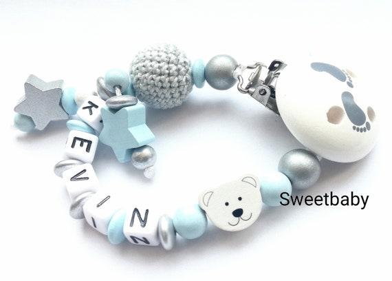 Schnullerkette mit Namen • Motiv TEDDY Bär • Baby Junge Geschenk • grau blau