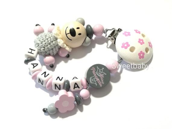 Schnullerkette mit Namen Motiv Teddy /& Herz Mädchen Rosa Grau Babygeschenk
