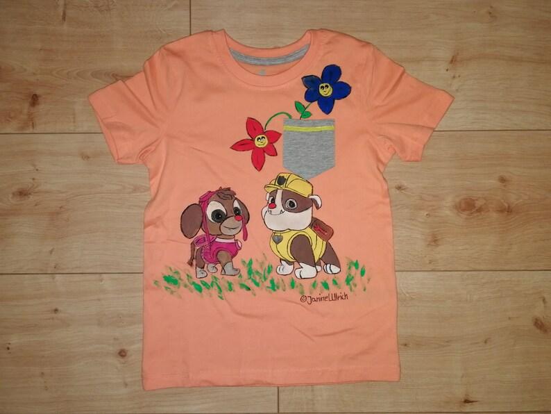 6199a691c3 Kids-Shirt Rubble & Skye Paw Patrol handgemalte Motive   Etsy