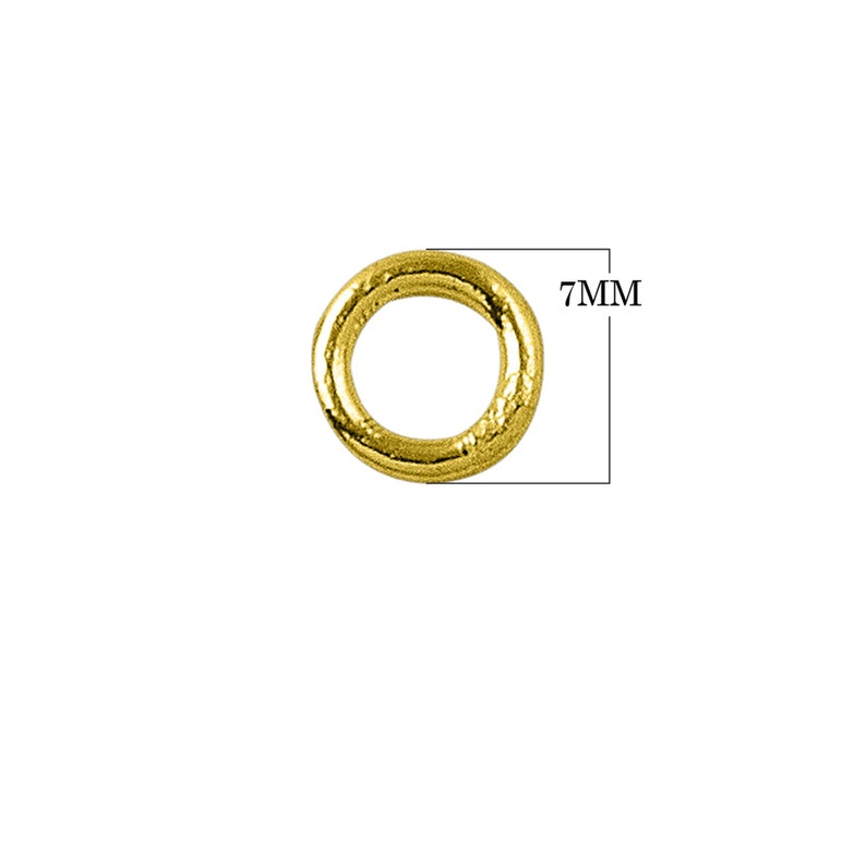 18K Gold Overlay Closed Jump Ring-7MM