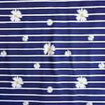 GÄNSEBLÜMCHEN Jersey Miss Julie white dark blue STREIFEN striped navy marine flowers flower white yellow block stripe jersey cotton