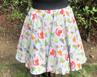 208360d045c XL-1X Dinosaur Print Handmade Circle Skirt with Pockets Pin Up Retro  Rockabilly Retro Style Plus Size