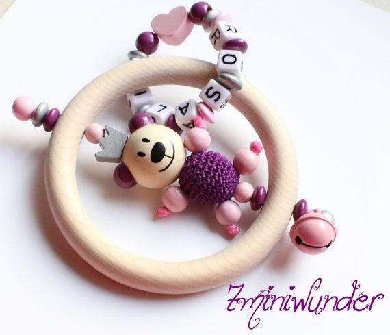 Schnullerkette mit Namen Maus Mini me 3D Maus Taufe Geburt Baby Holz