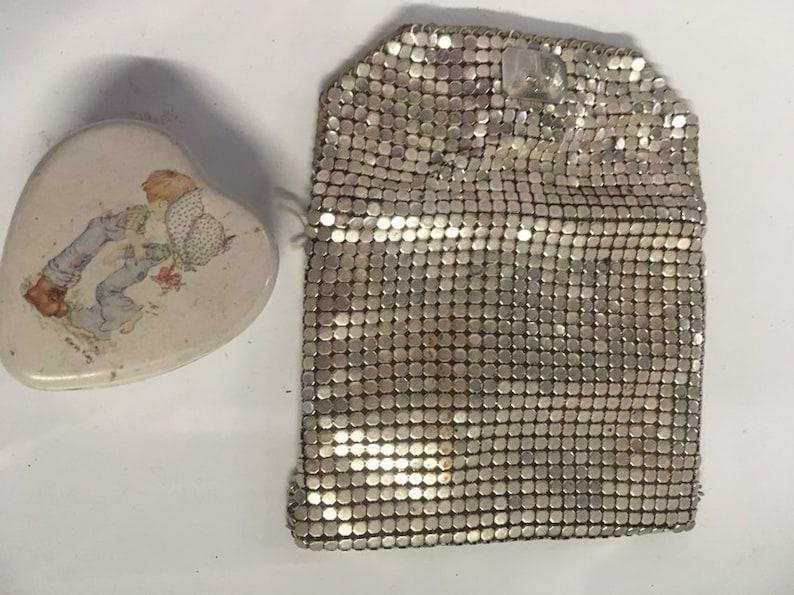 ladies  evening small coin clutch Vintage silver coin purse Art Deco era pill pouch