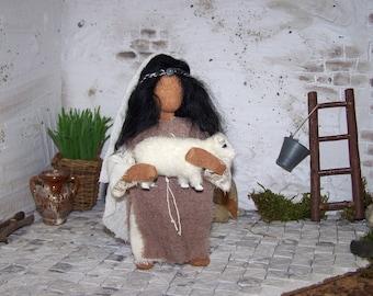 "Biblical narrative figure ""Girl with Lamb"""