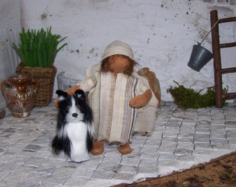"""Biblical narrative character,"""" toddler with dog"""