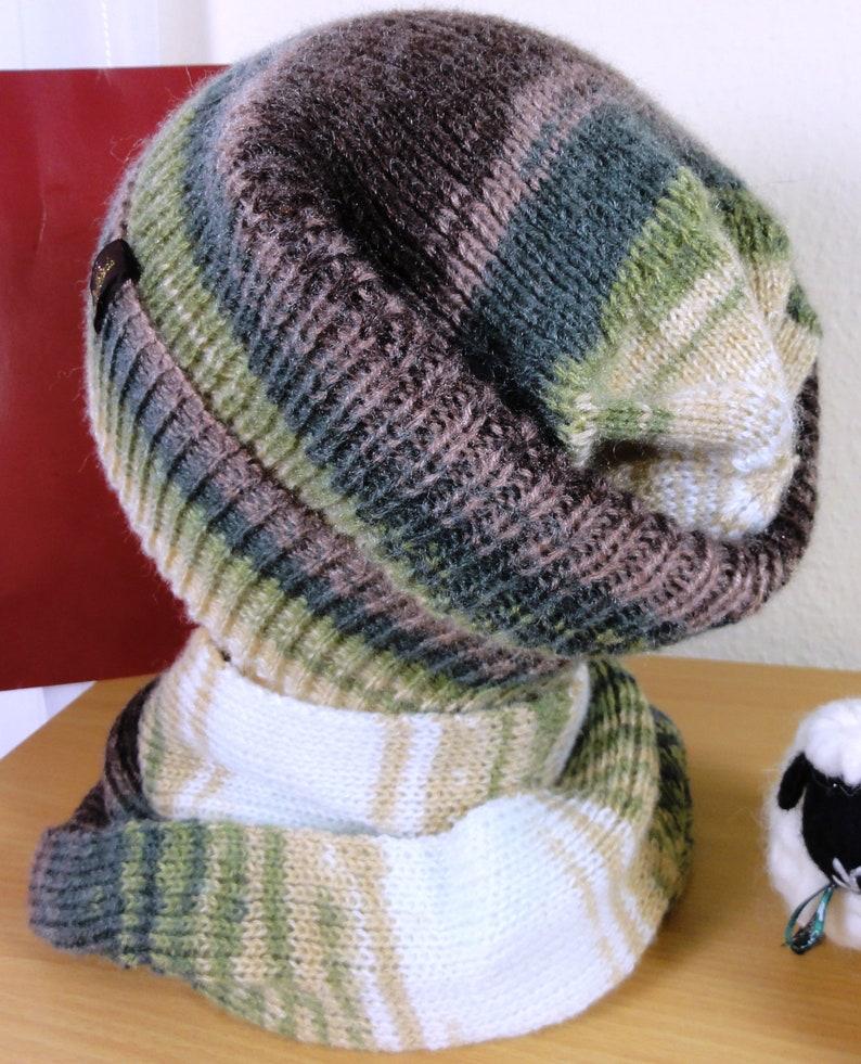 Hat scarf set olive-brown-white gradient