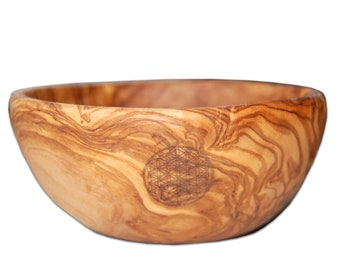 """Cereal bowl (Ø approx. 6.3 inches) with engraved """"Flower of life"""" made of olive wood"""