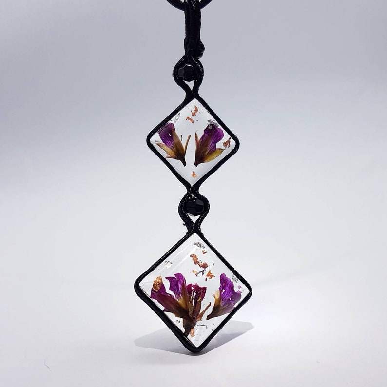 silver foil and copper Soutache technique Resin pendant real flowers Hand Made
