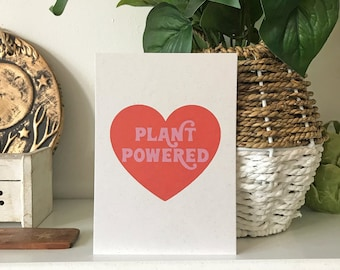 Plant Powered Heart Red Retro Pink Recycled Art Print Poster Vegan