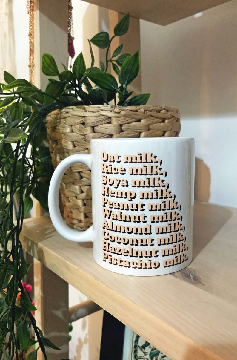 Plant Milks Vegan Mug with Coaster Set Gift // ThePunkyBunny image 0