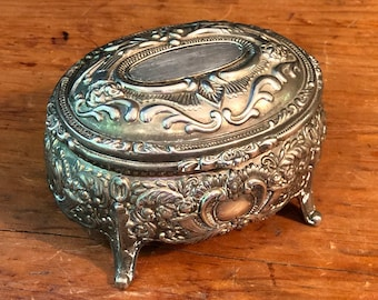 2 34 H x 4 12 W x 3 12 D Victorian MirrorRed Satin Interior Enlgand Embossed Silver TrinketWedding Box Likely 1930s Approx