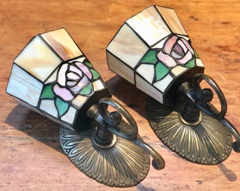 """Pair, Stained Glass, Wall Sconce, Candleholder, Roses, Brass Metal, Approx 8"""" H x 4"""" W x 4 3/4"""" Depth, China, 1990s"""