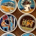 """anastasia reviewed Set of Six, Greek Ceramic Souvenir Coasters, Handmade by Niarchos, White and Blue,  Approx. 3 1/2"""" D,  Greece, 1980s"""