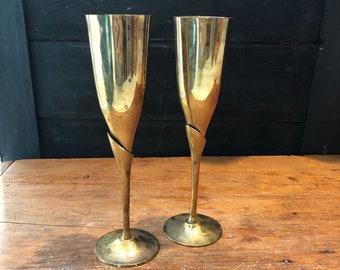 WEDDING PRESENT Veuve Clicquot Orange Stem Champagne Flute x2 ANNIVERSARY