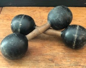 Pair, Antique Wooden Exercise Weights, Dumbbells, Approximately 12 quot H x 3 1 4 quot W, England, Early 1900s