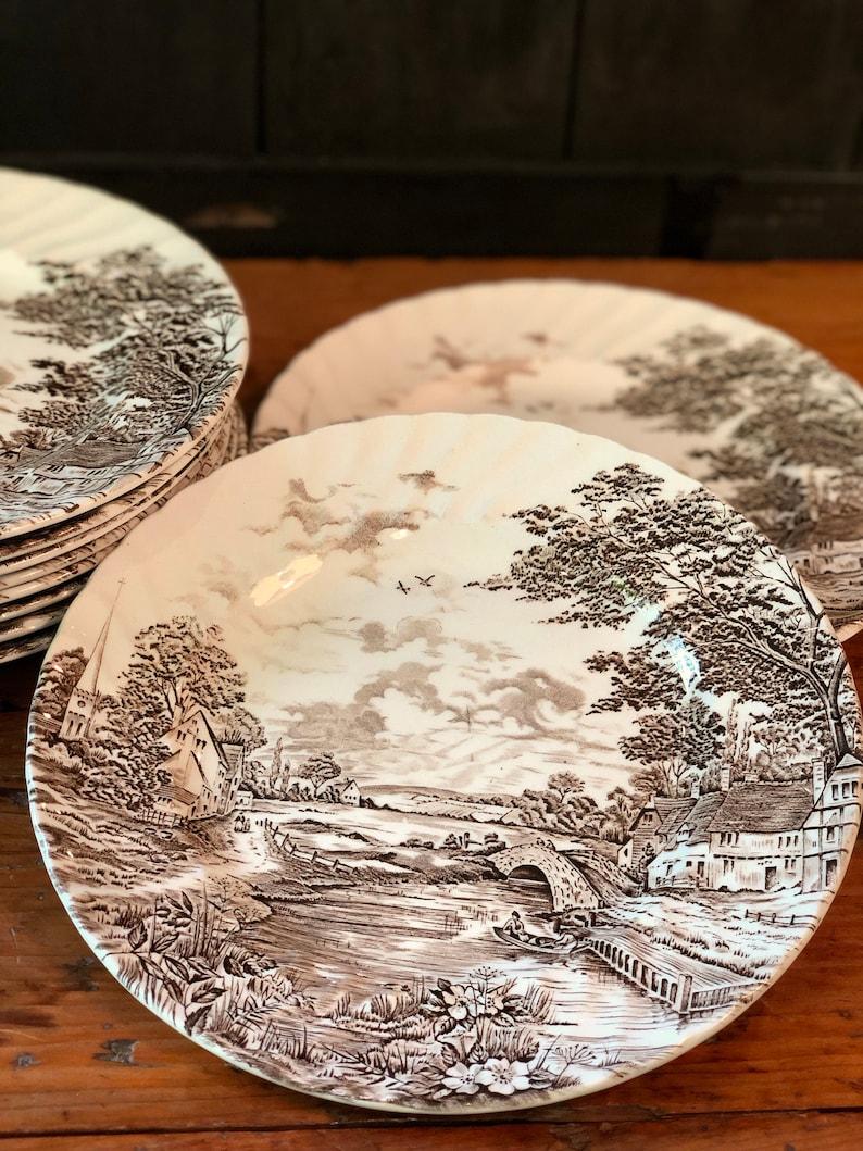 Set of Ten Ridgway Country Days Brown Transferware Dinner