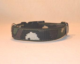 Dog choker 40 x 2.5cm Camouflage Black Green