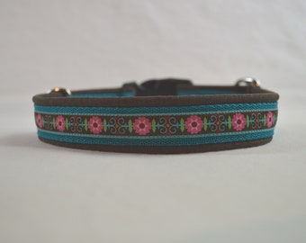 Dog collar 50 x 3 cm flowers on turquoise and brown