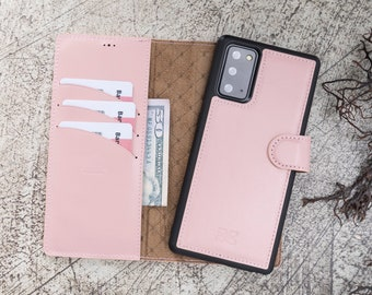 Pink Nude Samsung Galaxy Note 10 Premium Handmade Genuine Leather RFID Protection Cover Magic Wallet Case for Galaxy Note 10