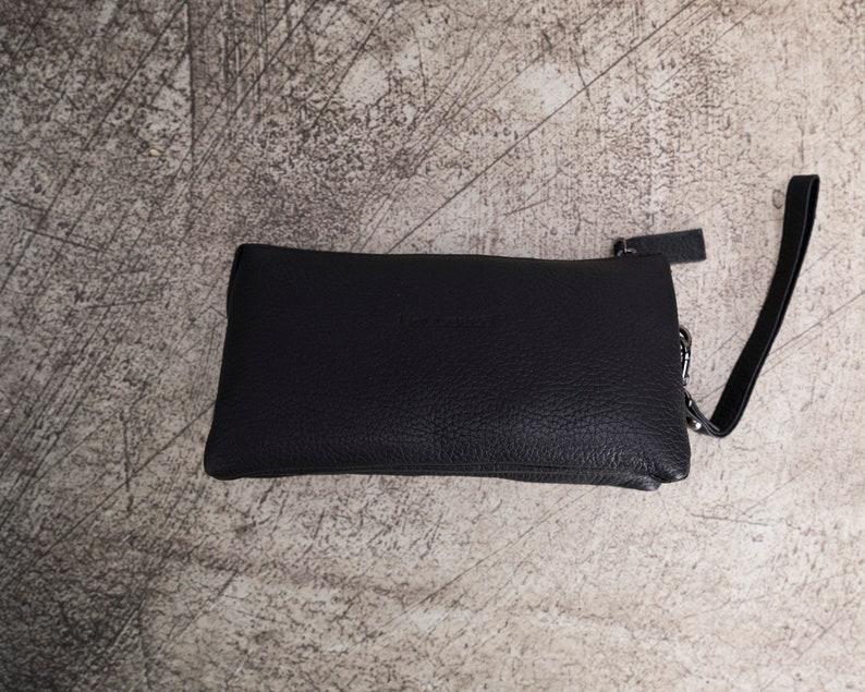 Handmade Black Genuine Leather Organizer Portfolio Handbag for women RFID Protection with Card Slots by BoulettaCase